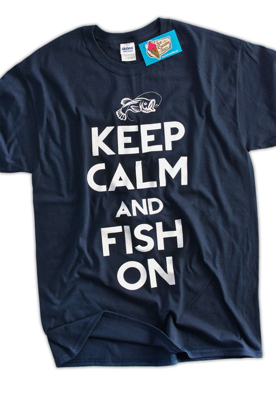 Funny fishing t shirt keep calm and fish on by icecreamtees for Funny fishing t shirts