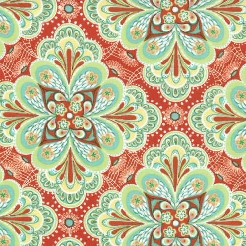And jessi jung for moda flora paisley flower in tangerine 1 yard