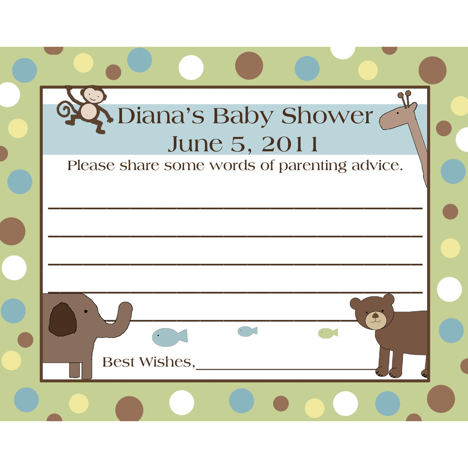 to 24 personalized baby shower advice cards wild things on etsy