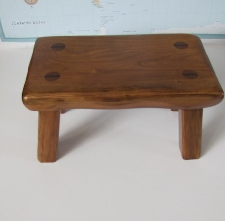 Handmade Rustic Wood Footstool Solid Cherry Step By