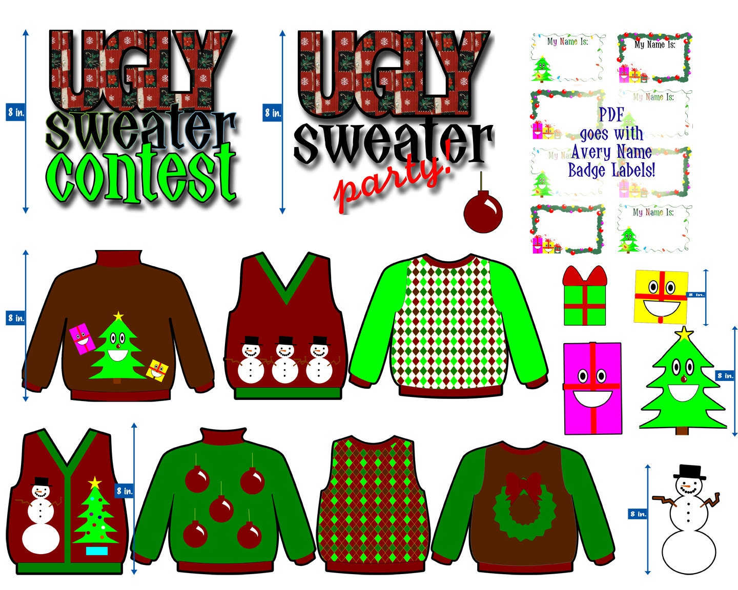 Ugly Christmas Sweater Clip Art for your Ugly Christmas Sweater Party    Ugly Christmas Sweaters Clipart