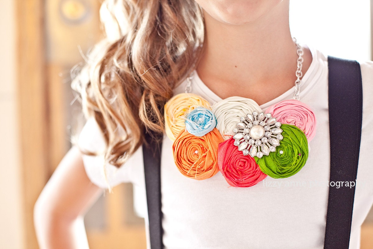 rosette necklace for little girls you pick the colors