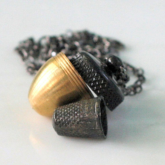 Acorn and Hidden Thimble Kisses Peter Pan and Wendy Necklace In Shiny Brass and Gun Metal - HooliganAlley