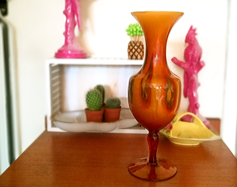 Mid century vase Large amber glass vase Cased amber glass milk glass vase Slag glass vase End of Day glass vase Vintage glass vase