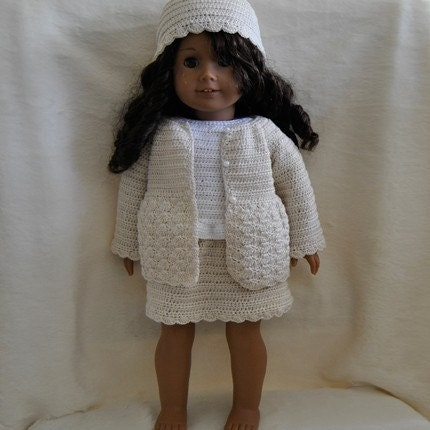 """Bizzy Crochet: Cargo Skirt Outfit w/Backpack- 18"""" Doll pattern"""