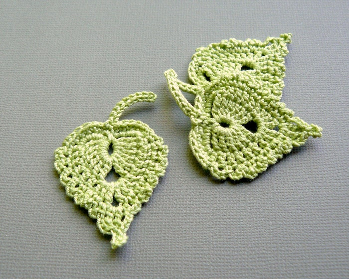 3 Spring Green Leaf Appliques -- Crochet Birch Leaves - CaitlinSainio