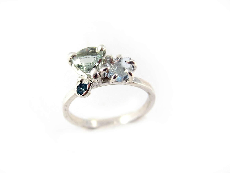 Prasiolite Ring Swiss Blue Topaz Ring Aquamarine Ring Blue Stone Ring Cushion Cut Multistone Ring Cluster Ring Green Stone Ring