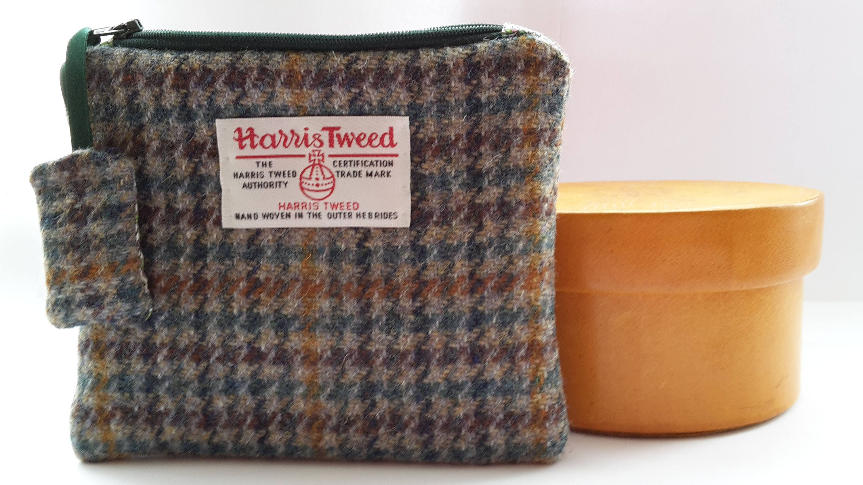 Harris Tweed Multi Dog Tooth Purse with Liberty of London Emilia Print Lining
