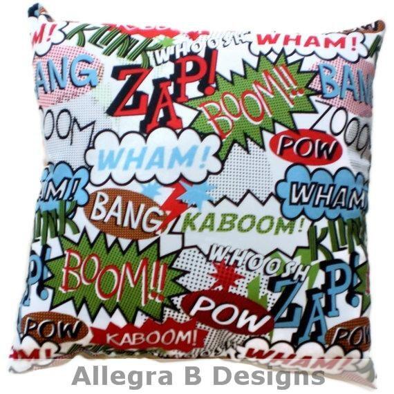 Pow Superhero Comics Pillow Hipster Trendy Home Decor By