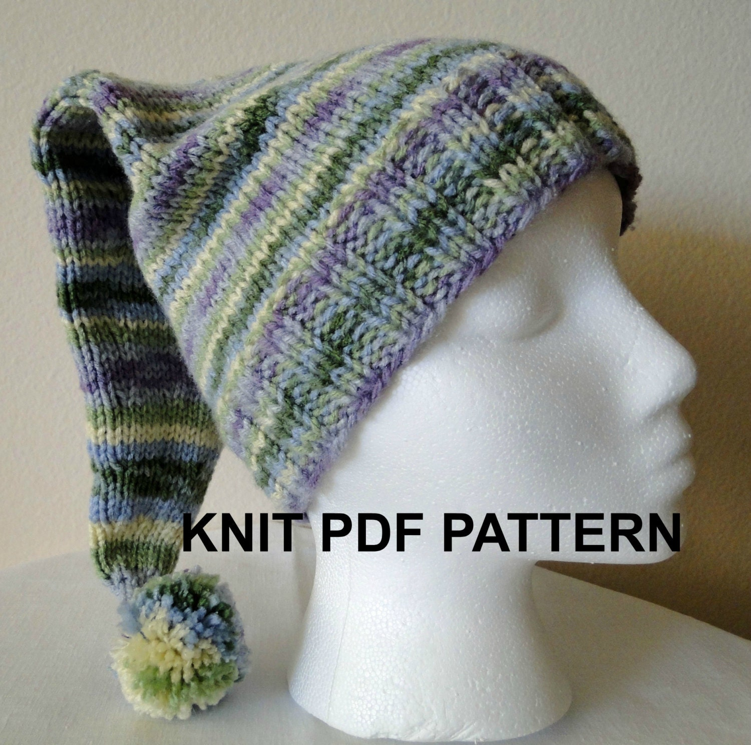 Knit Stocking Cap Pattern : PDF PATTERN Knit Adult Stocking Hat Ski Hat by karensstitchnitch
