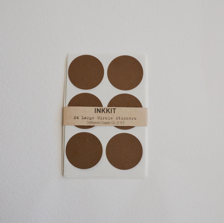 dark brown large circle stickers (24 stickers) - inkkit