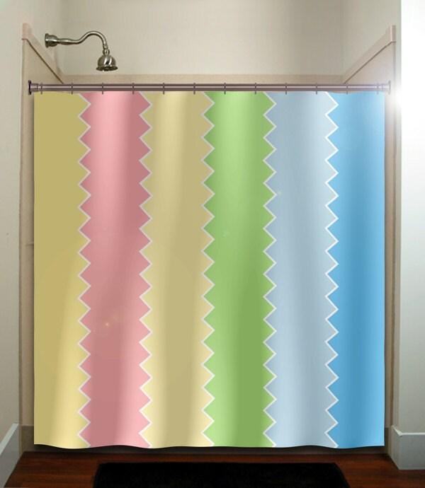 Pastel pink green blue chevron shower curtain bathroom decor fabric