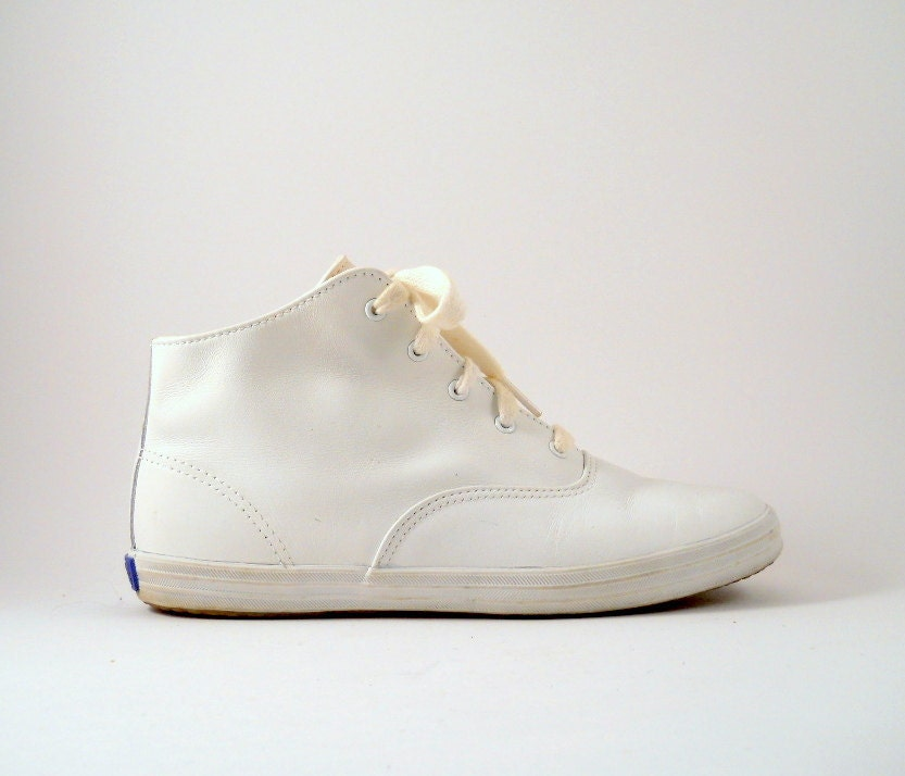 Vintage 90s White Leather High Top Keds In Women S By