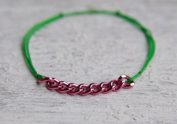 Big Pink Chain w/ Neon Colored Bracelet
