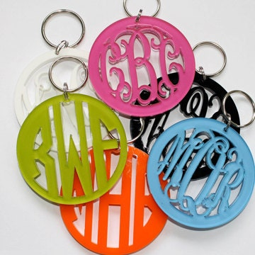 MONOGRAMMED Thick Acrylic Key Chain - 16th Birthday Gift