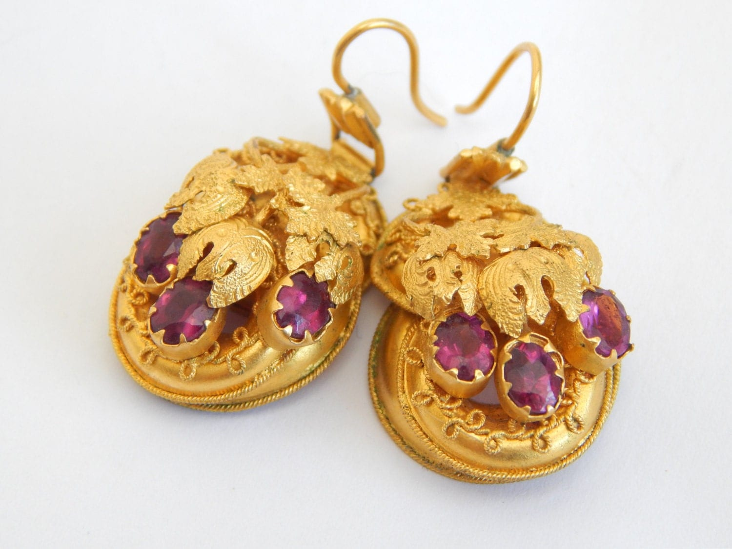 victorian antique earrings in 18ct gold and amethyst  etruscan jewelry