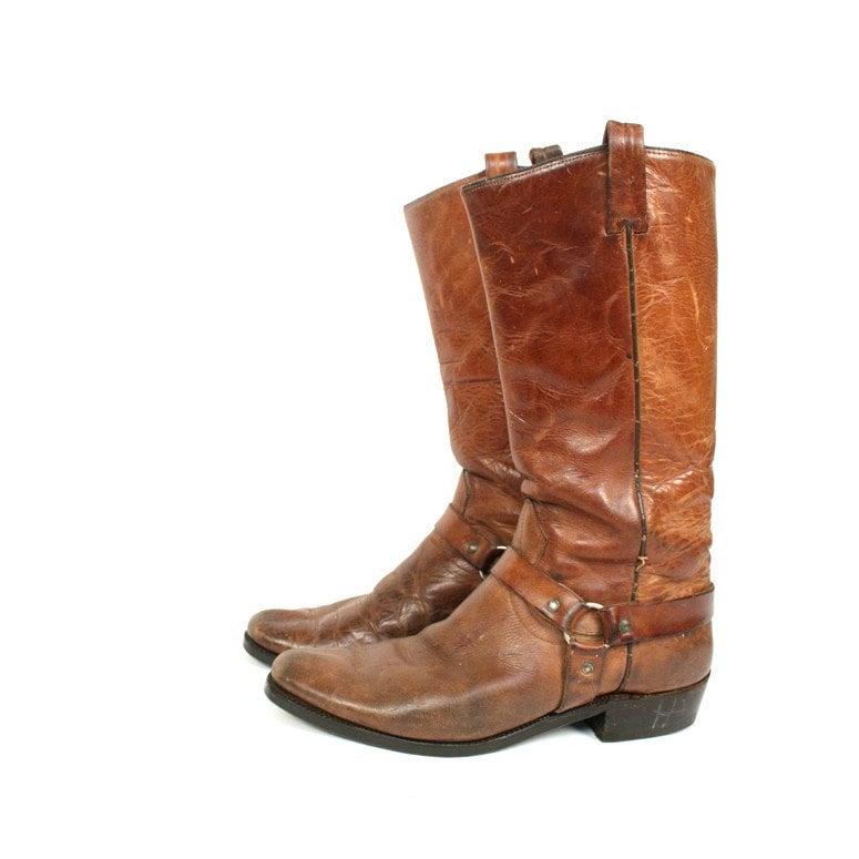 vintage brown leather motorcycle boots 11 10 by santokivintage