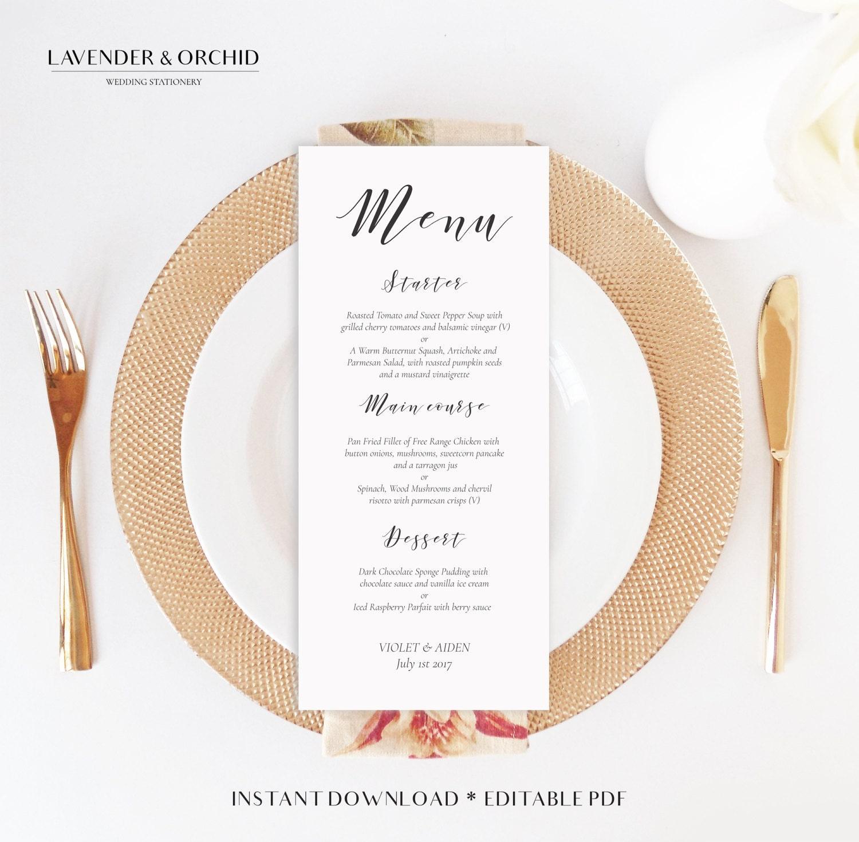 Wedding menu template Printable menu Instant download Editable PDF DIY wedding menu template Party menu templateDinner menu Menu card