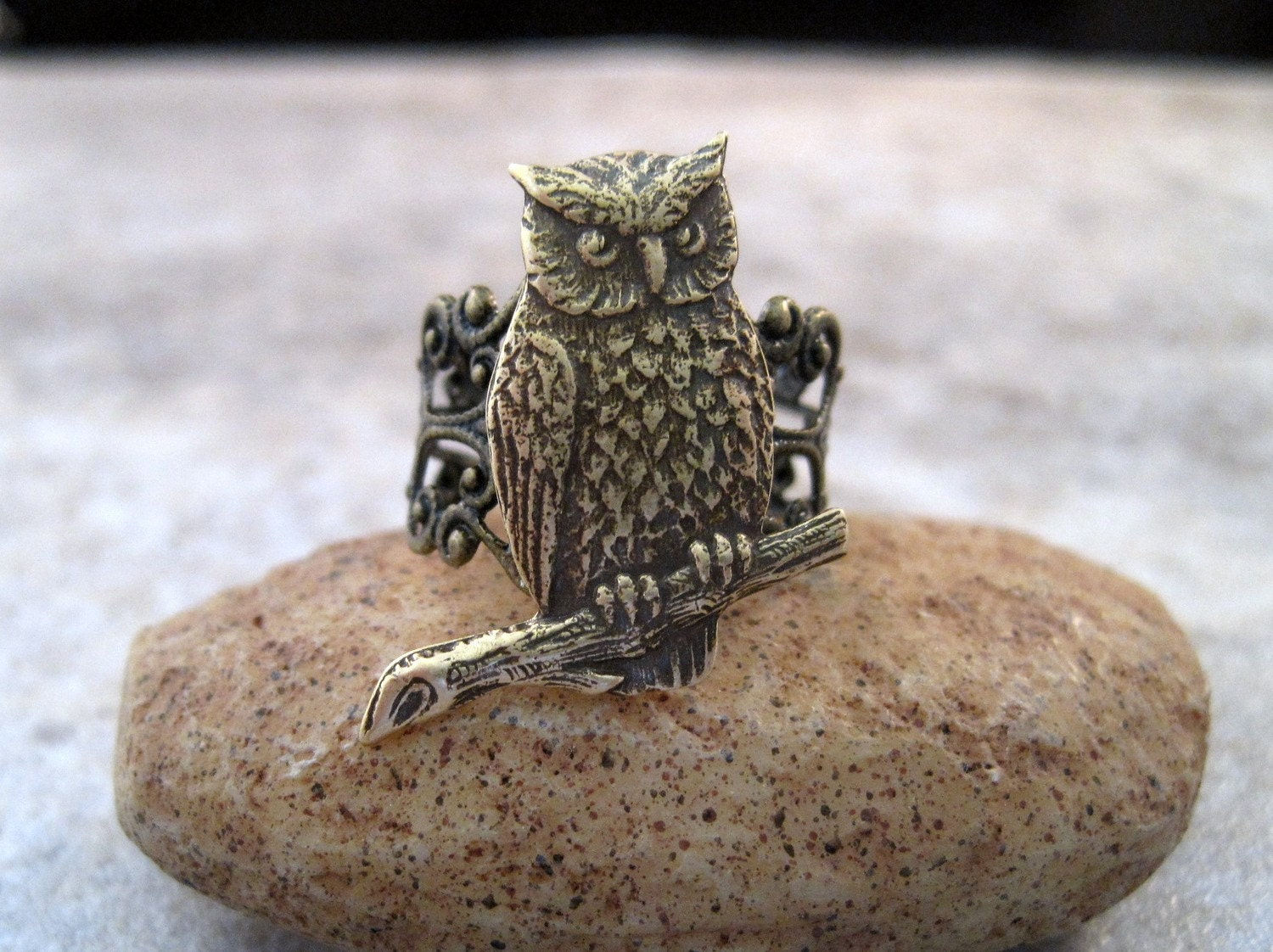 Oxidized Brass Owl Adjustable Filigree Ring