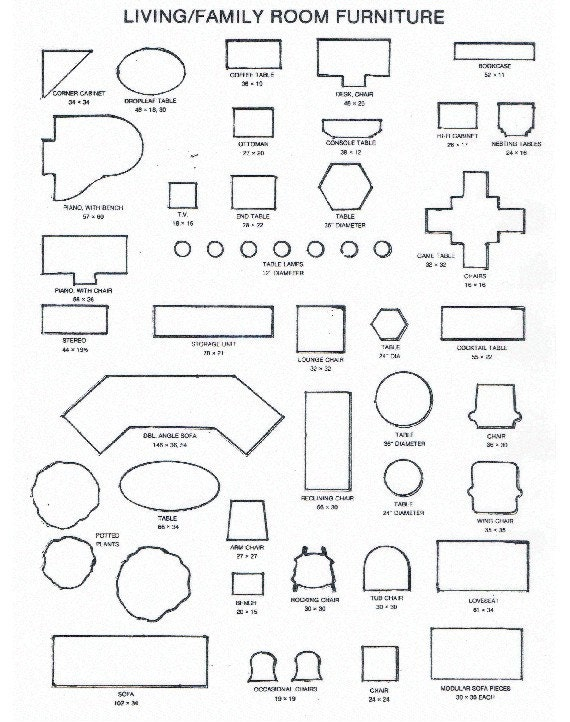 Printable room plan furniture templates for Room layout template