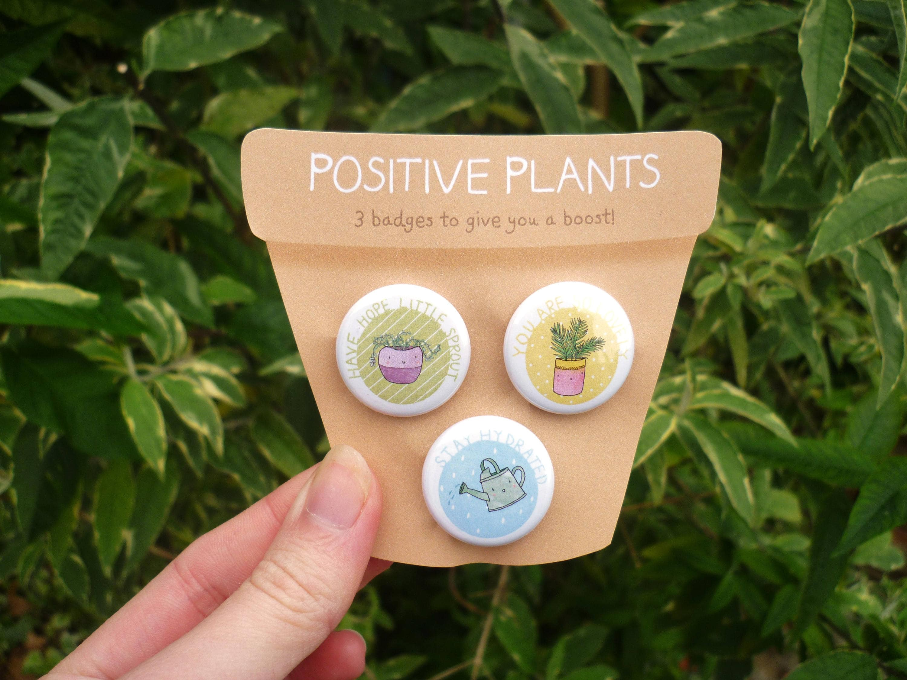 Positive Plants  Pin badges set of three  Cute positivity self care gifts