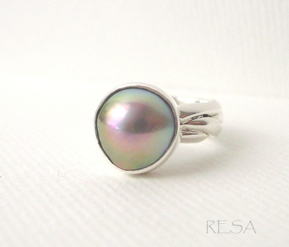 Mabe Pearl Braided Sterling Silver Ring - ResaArtDesign