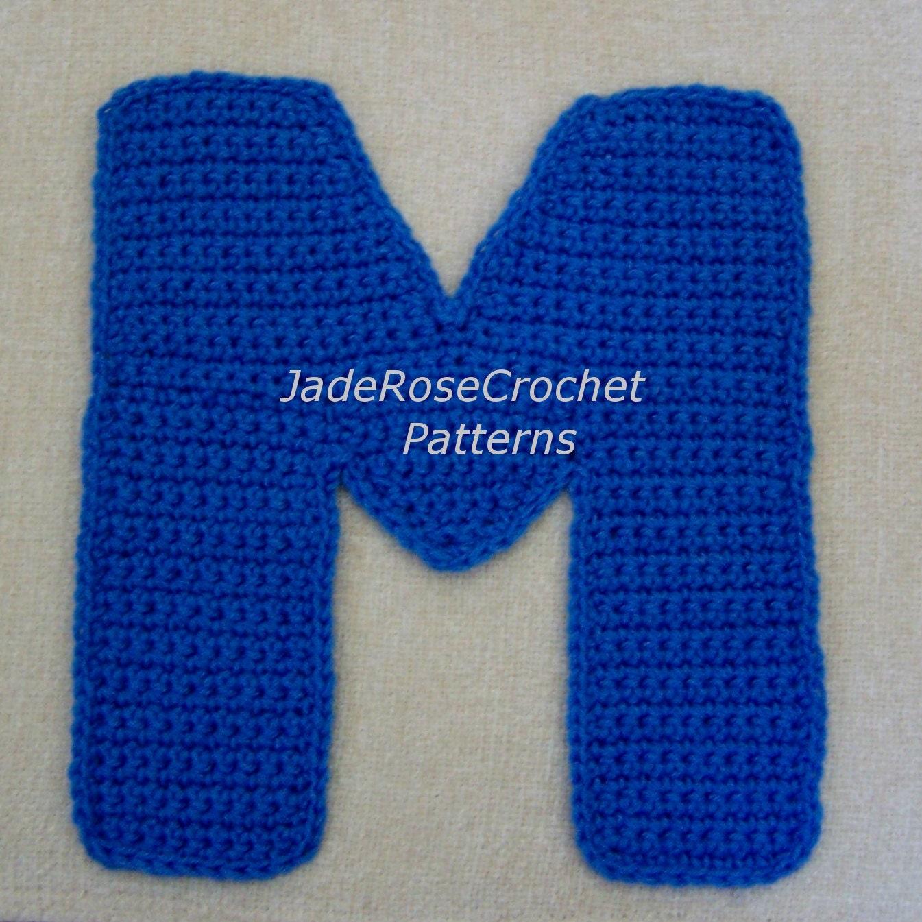 Crochet Letter Patterns M by JadeRoseCrochet on Etsy