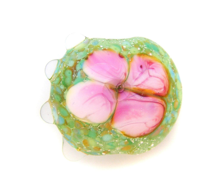 Camellia Lampwork Focal Bead SRA