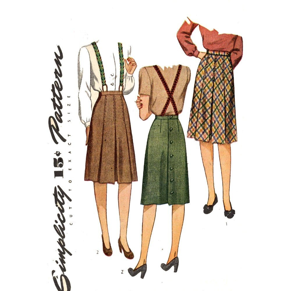 ww2 era box pleated skirt sewing pattern simplicity by