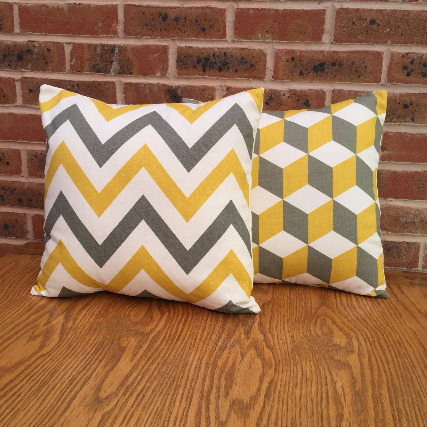 2 pack of yellow and grey geometric 16 cushion covers Large Chevron ZigZag and Cube Squares