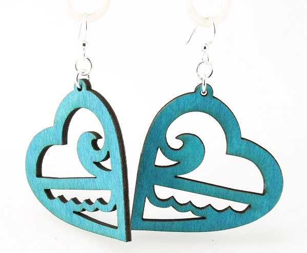 Ocean Hearts - Eco Friendly Wood Earrings - GreenTreeJewelry