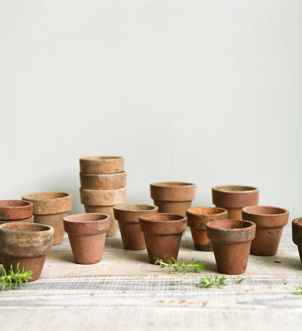 Tiny Antique Seed Starter Planting Pots / Terra Cotta, Planter, - ethanollie