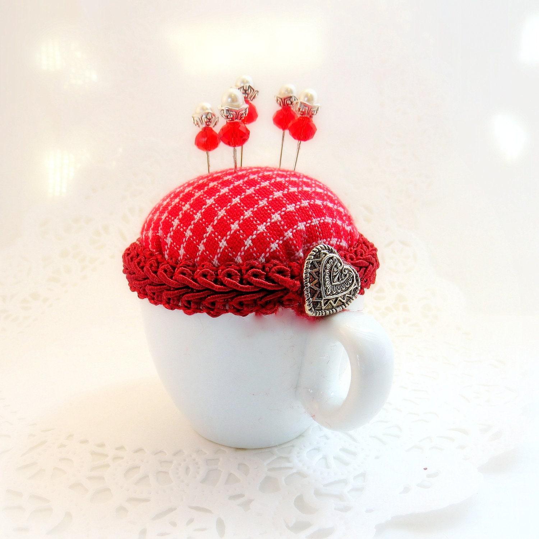 Needlecraft pincushion cottage style demitasse cup Valentines Day heart red white homespun fabric straight pins TAGT tenX