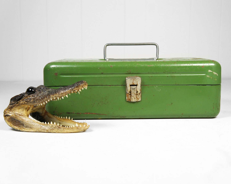 Vintage Green 1950's Old Pal Fishing Tackle Box by HoofAndAntler