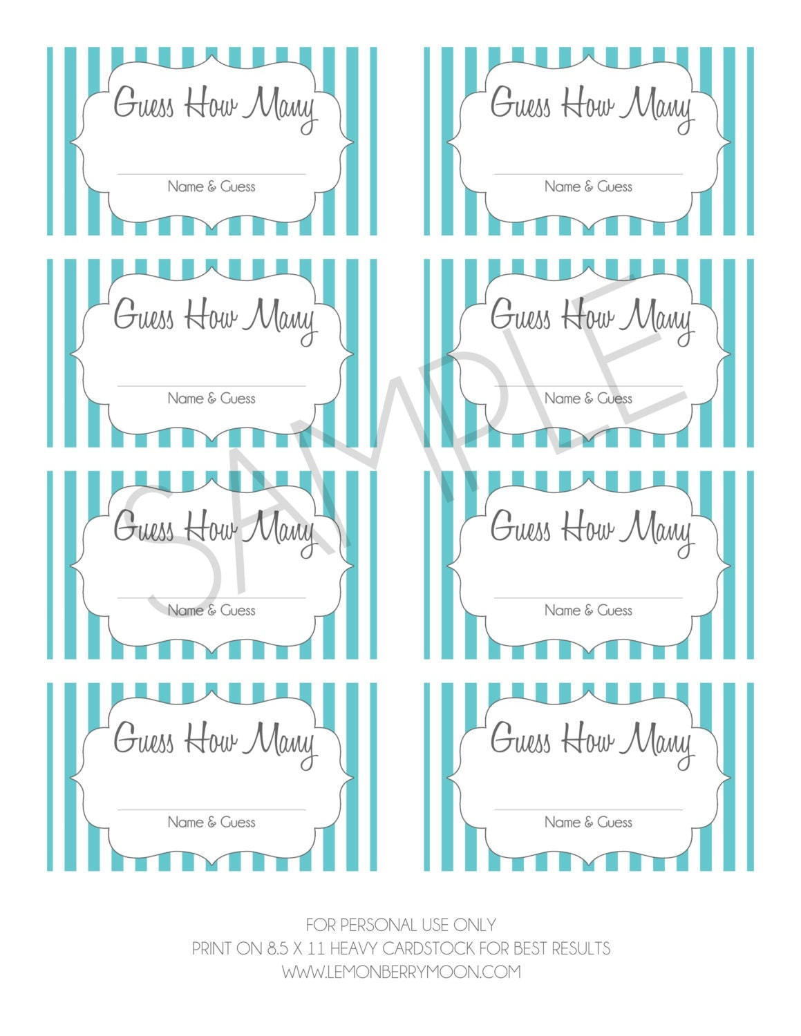 Guess How Many Printable Baby Shower Game- Instant Download - Gray and ...