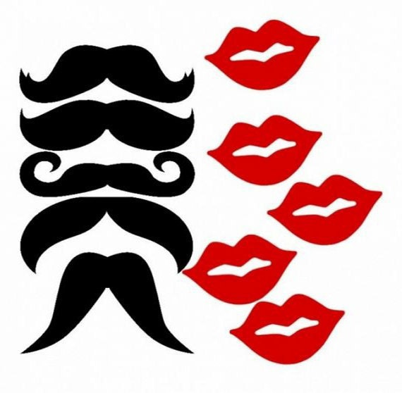 100 pcs Mustaches Moustaches & Lip Cut Outs Party Props by PartyHQ