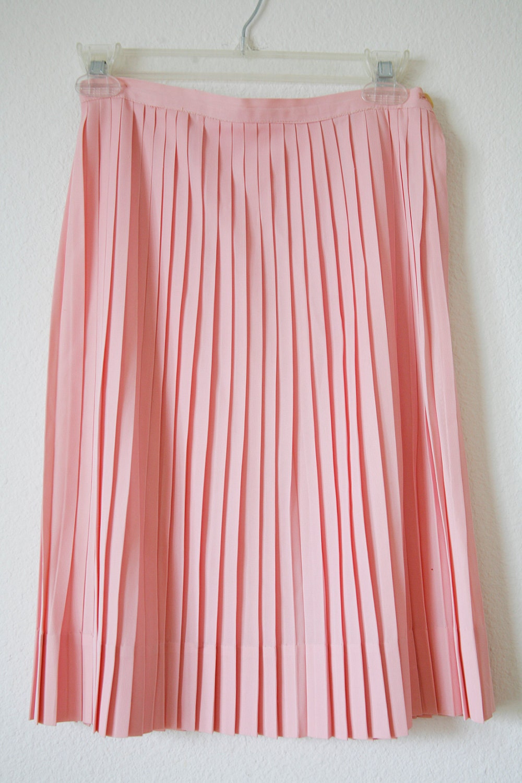 petal pink knife pleated skirt vintage 60s by vintagerebelle