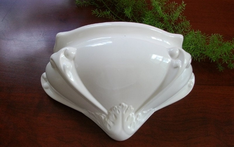 Vintage Holland Mold White Ceramic Wall Planter By