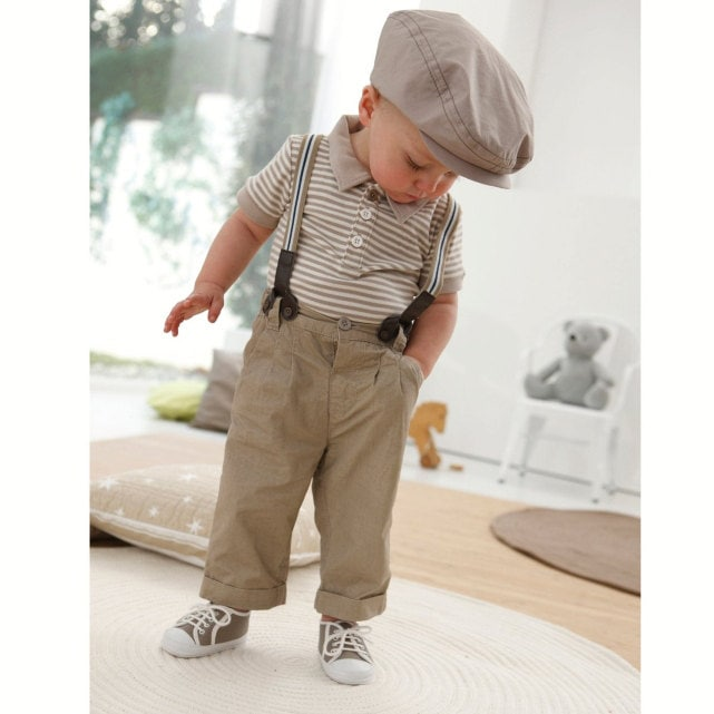 Little Boys 2 piece Church Wedding, Easter or Luncheon Ensemble, khaki suspender suit - lslandGirly