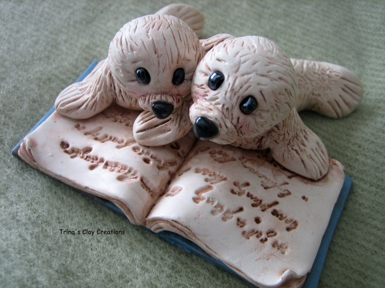 Polymer Clay - Two Little Seals Reading A Book - trinasclaycreations