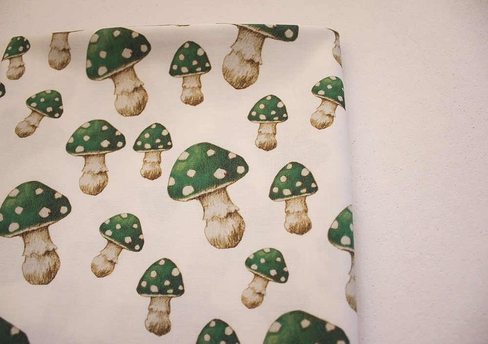 Magic Green Mushroom Fat Quarter, Woodland Cotton Fabric - ThistleandFox