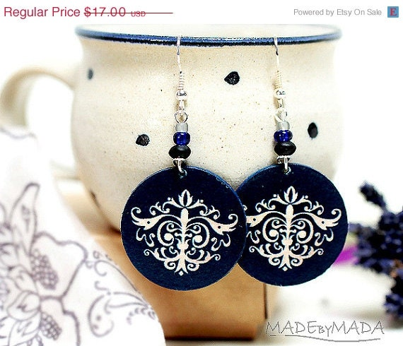 SALE Damask Ornamental French style Earrings french chic , Medium size 3cm �, gift for her under 20 - MADEbyMADA