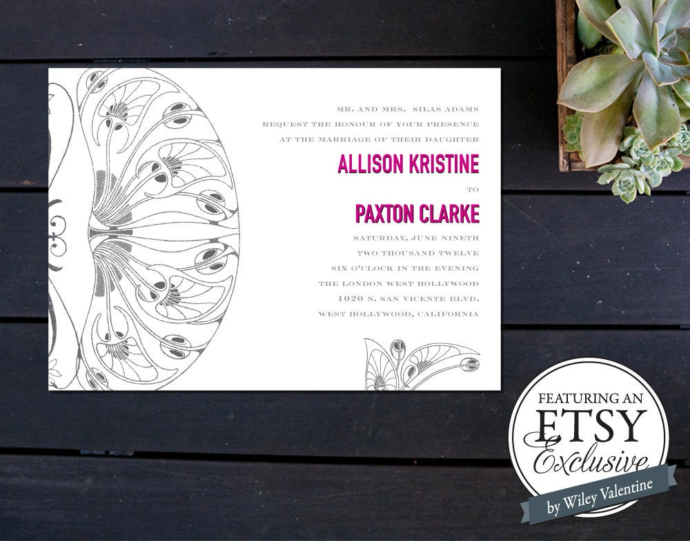 SALE Art Nouveau Inspired Wedding Invitation ETSY EXCLUSIVE