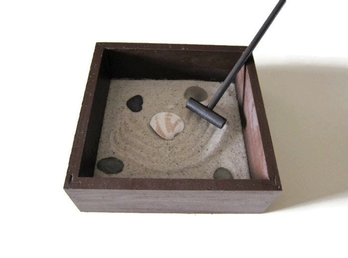 Mini zen garden office decor small size desk by paintspiration - Garden decor accessories ...