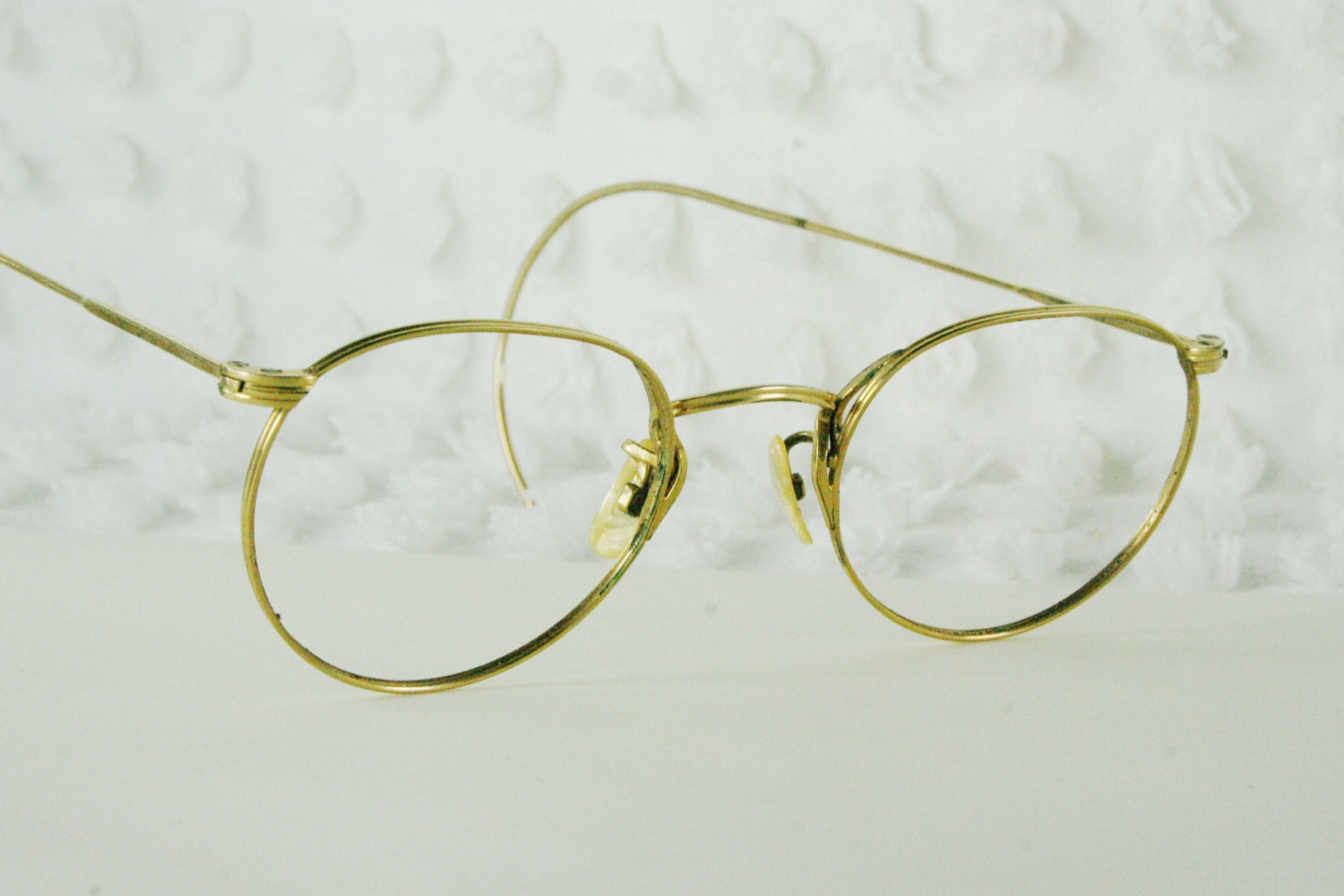 Eyeglass Frames With Long Temples : 40s Round Eyeglasses 1940s Ful Vue Frames Yellow by DIAeyewear