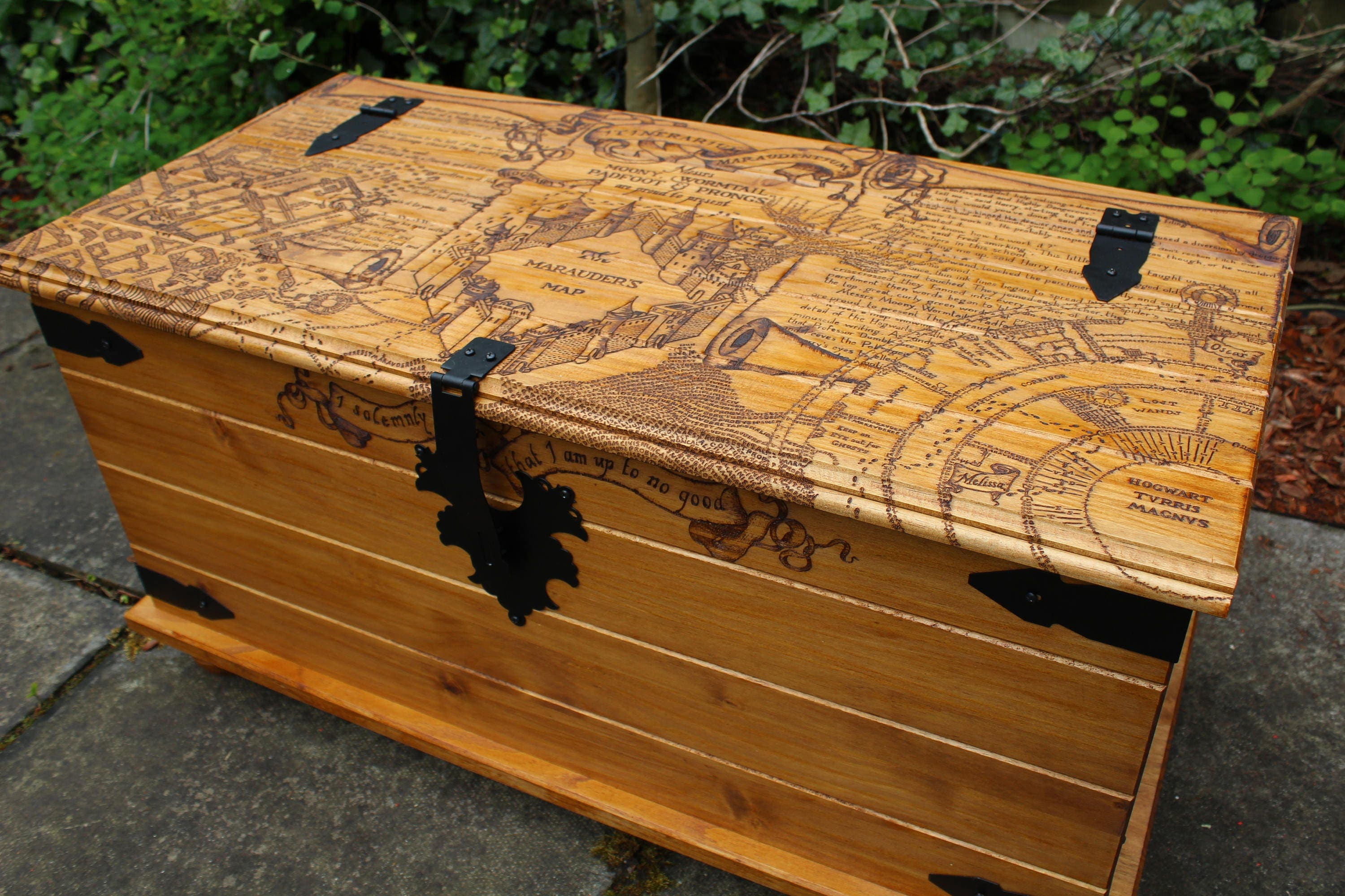 Marauders Map Harry Potter Trunk Chest Wood Burning Furniture Hogwarts Coffee Table Rustic Wood Table Quirky Solemnly Swear Blanket Box Book