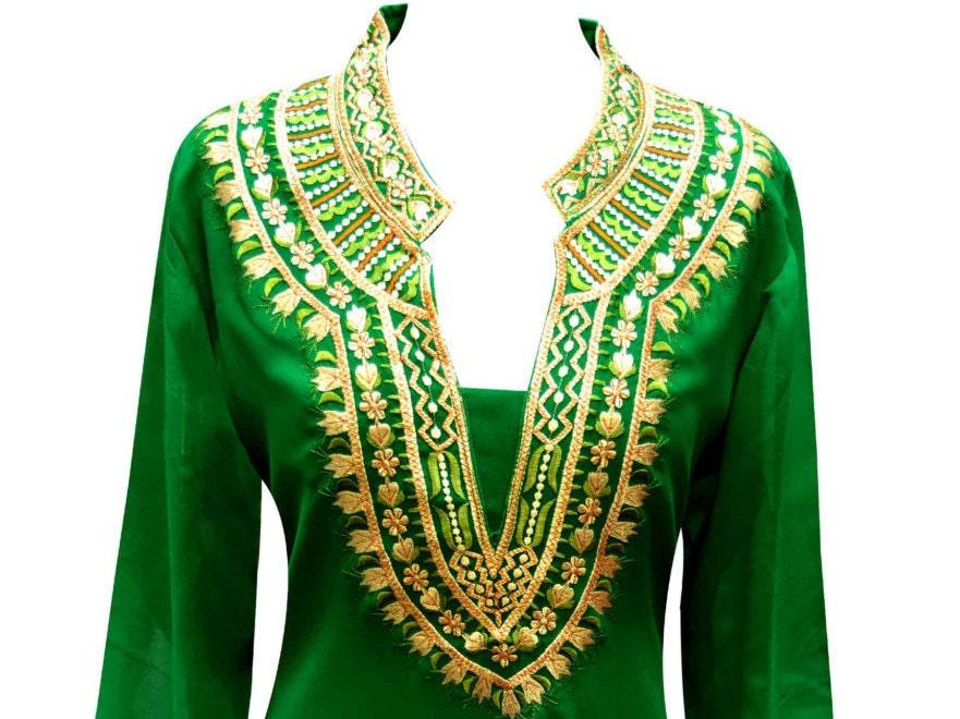 womens GREEN Indian fancy tunic Top in Georgette for Party Wear kurtis kurta online kaftan shops in Birmingham Midlands London UK 6091