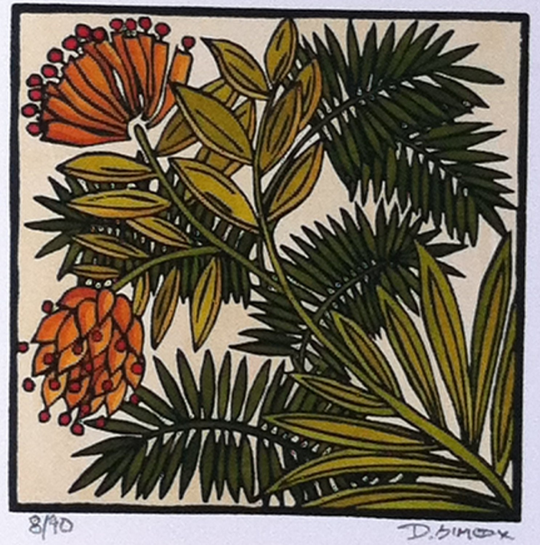 Linocut Craftsman Style Art Desert Bloom By Prairiebungalow