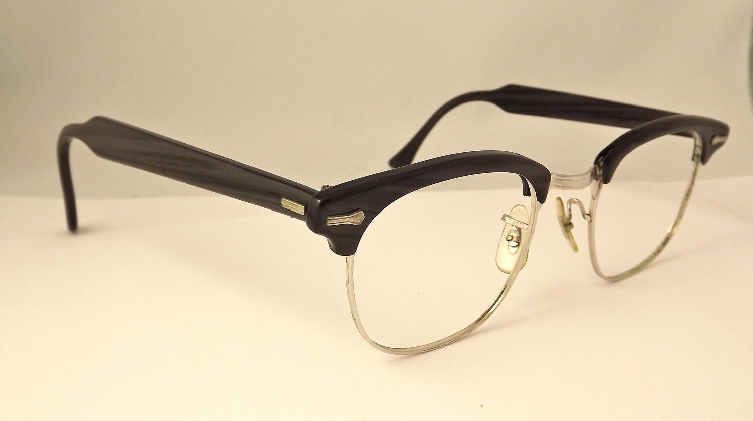 clubmaster style 1950s s eyeglasses black by ifoundgallery