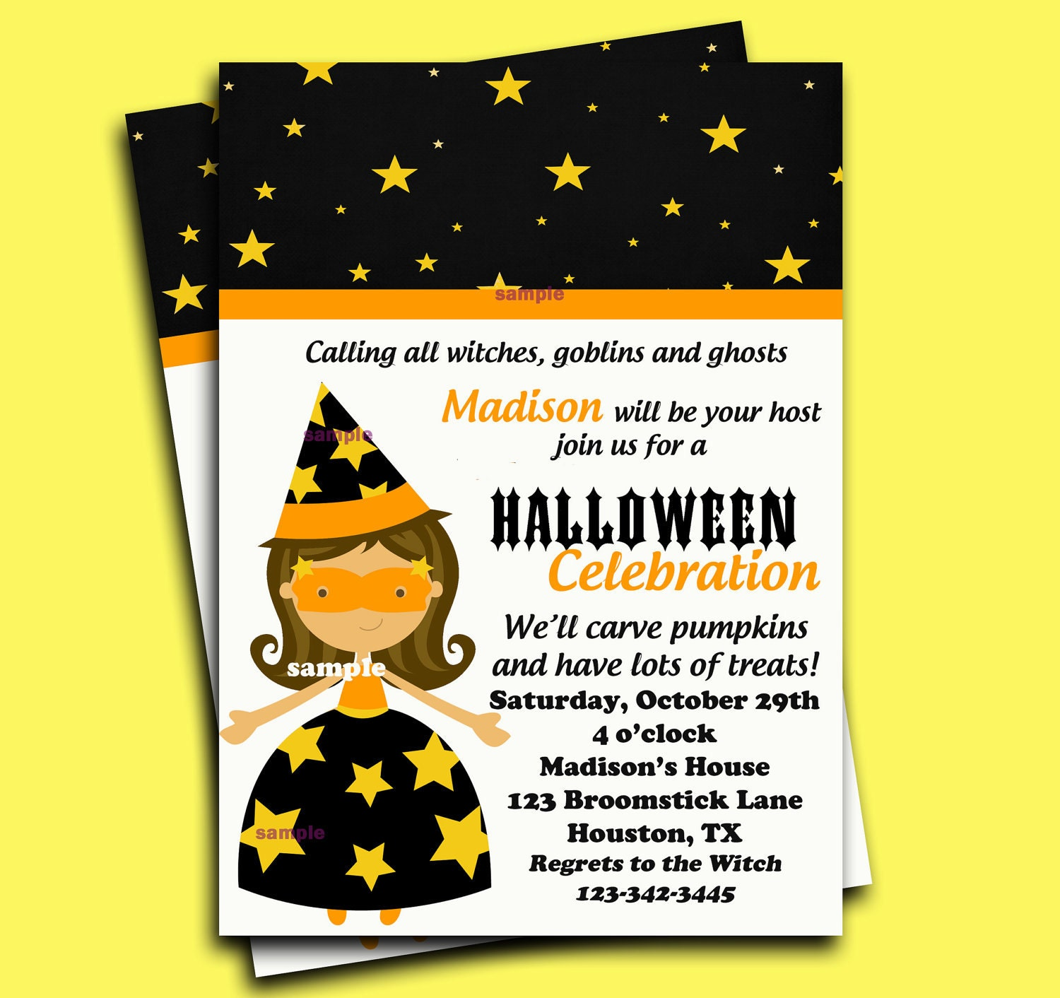 Items similar to Halloween Invitation Printable - Starry ...